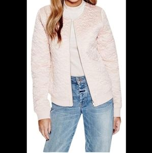 Guess Kinley pink quilted bomber jacket